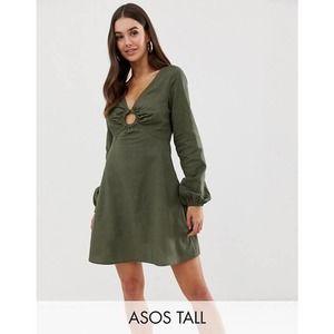 ASOS Green Ring Linen Balloon Sleeve Dress NWT 8